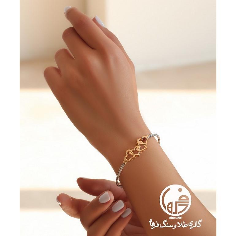 دستبند طلا ی دو رنگ فرد طرح قلب