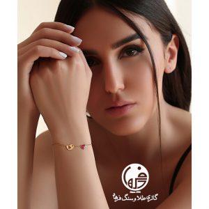 دستبند طلا طرح پرنده و قلب