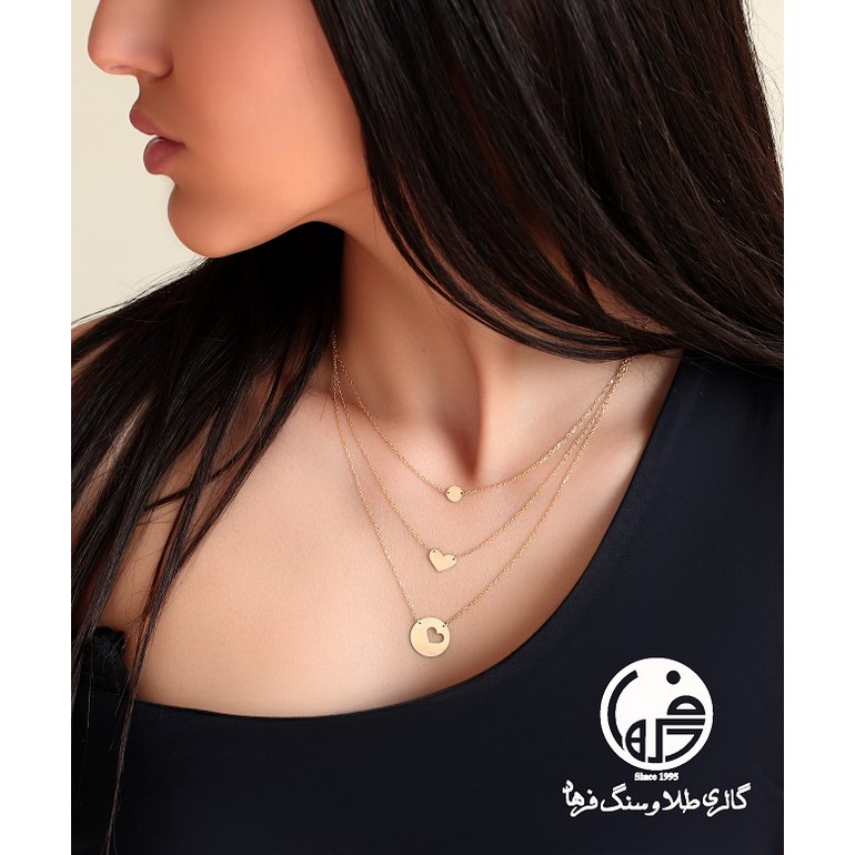 گردنبند طلا طرح قلب 3تایی