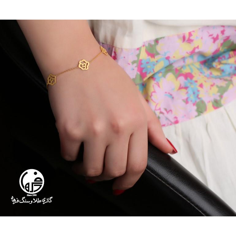 دستبند طلا طرح گل شانل