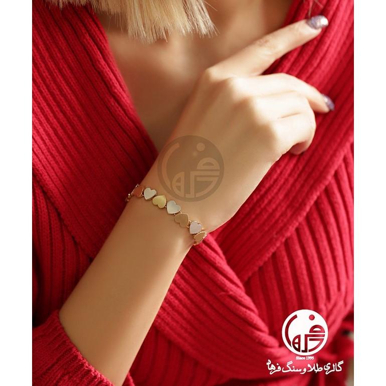 دستبند طلای سفید و زرد طرح قلب