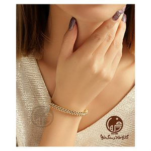 دستبند النگویی طلای سفید و زرد طرح برناردو