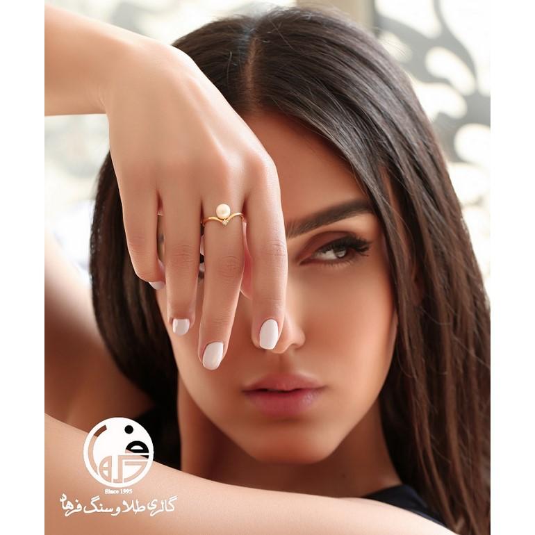 انگشتر طلا و مروارید طرح آنجل هابل کد R627