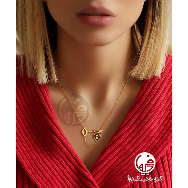 گردنبند طلا طرح کلید و قلب