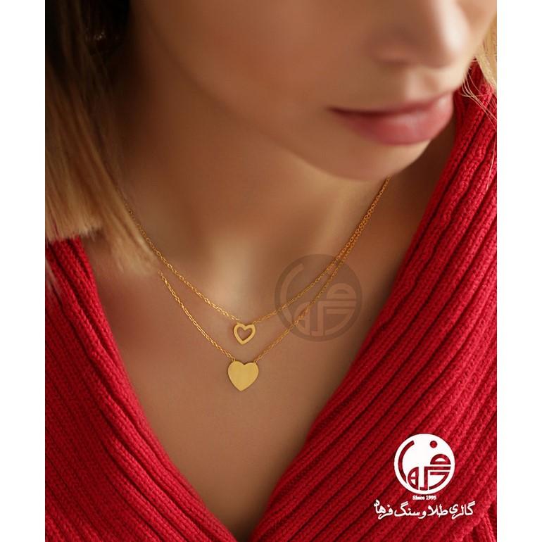 گردنبند طلا 2 تایی طرح قلب کد N632
