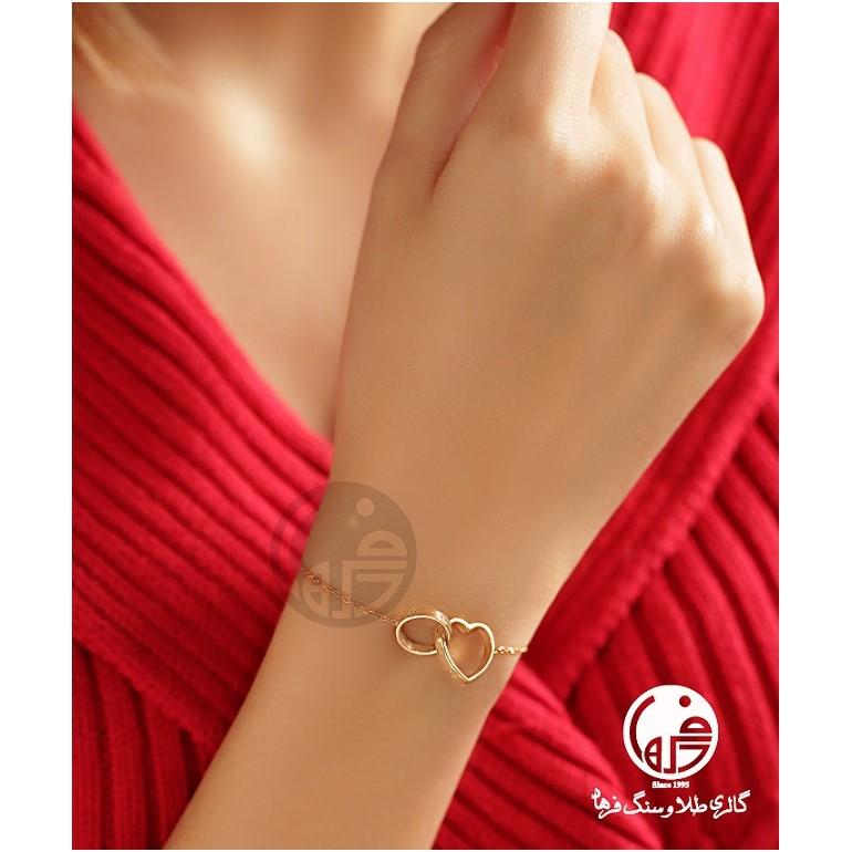 دستبند طلا طرح قلب و دایره کارتیه