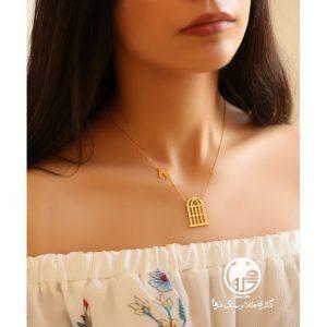 گردنبند طلا طرح پرستو و قفس