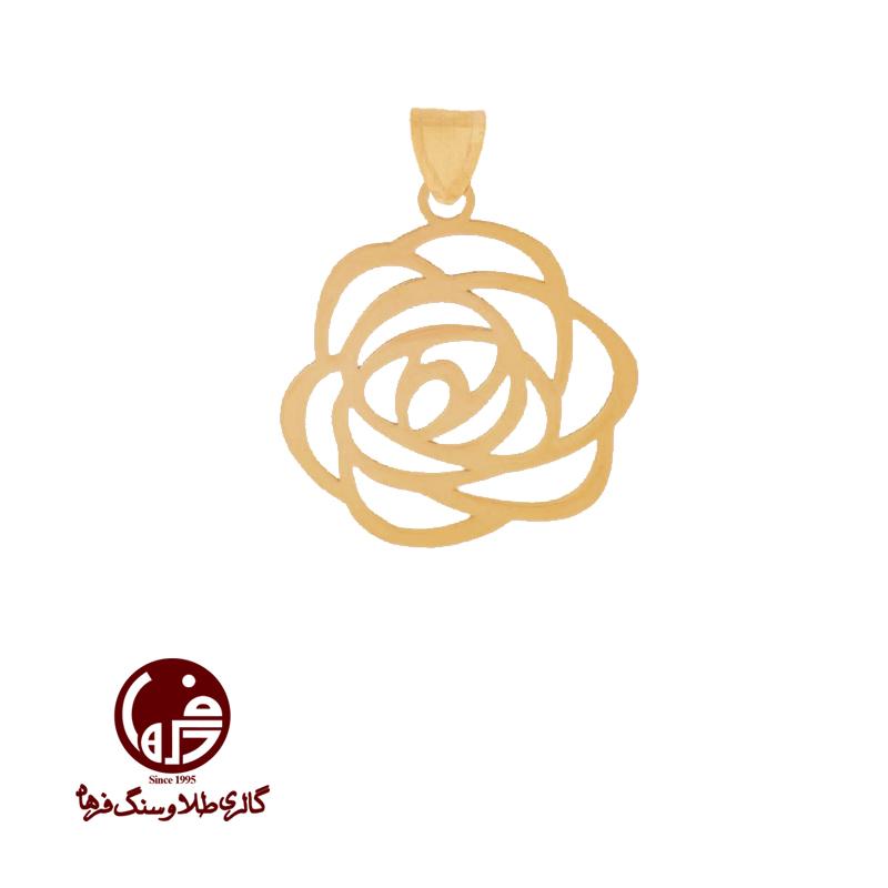 آویز طلا طرح گل رز شانل