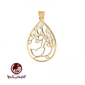 آویز طلا طرح شاخه و پرنده