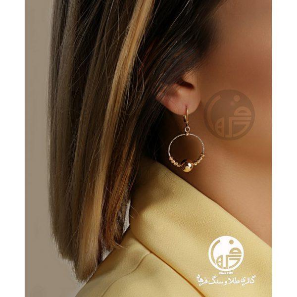 گوشواره طلای سفید و زرد طرح برناردو