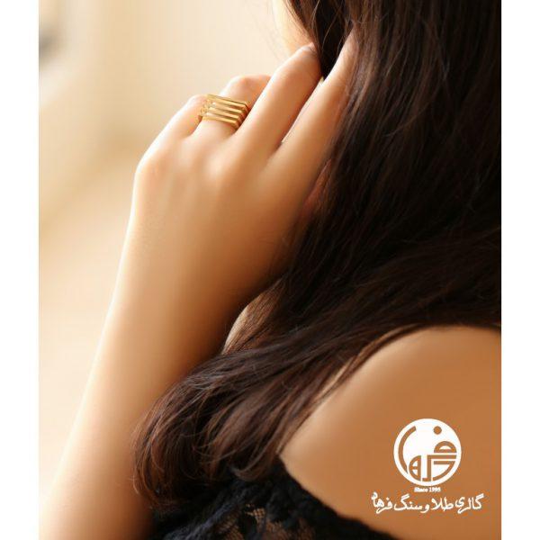 انگشتر طلا طرح خطی آنجل کد R521