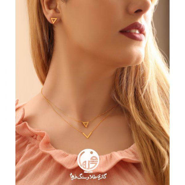 گردنبند طلا طرح مثلث و V