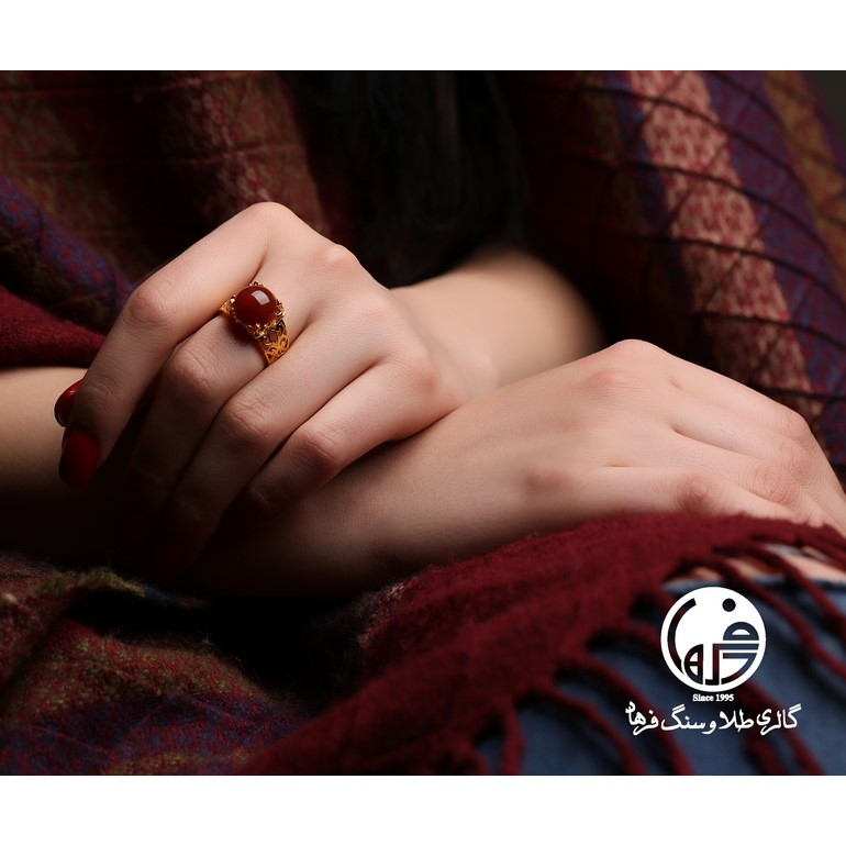 انگشتر طلا و عقیق کد R354
