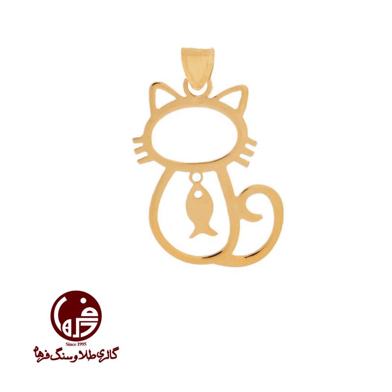 آویز طلا طرح گربه و ماهی