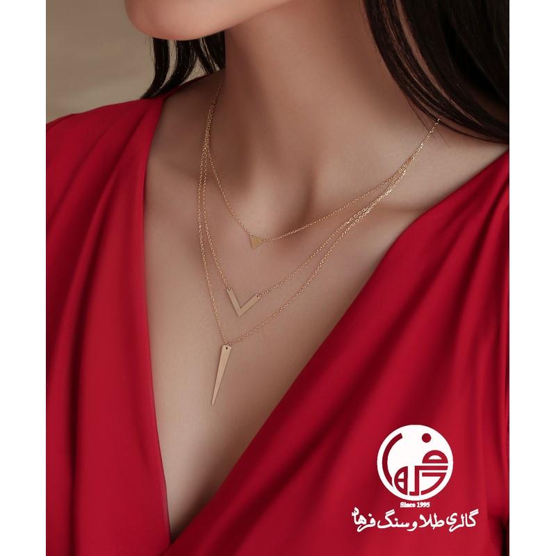 گردنبند طلا سه تایی طرح اشکال هندسی