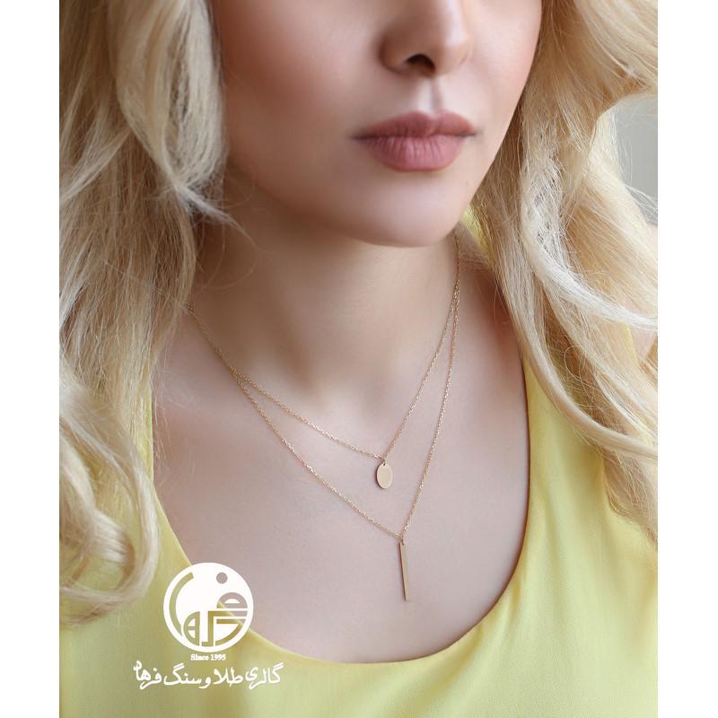 گردنبند طلا ۲ تایی طرح اشکال هندسی