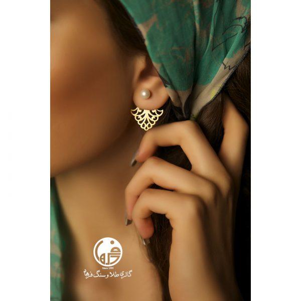 گوشواره طلا طرح اسلیمی و مروارید کد E191
