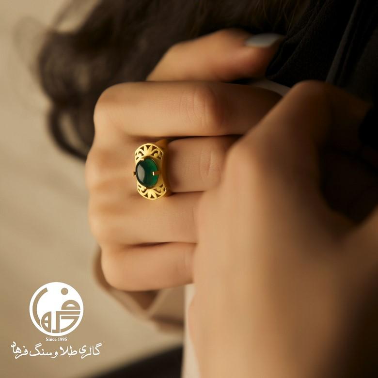 انگشتر طلا و عقیق سبز کد R200