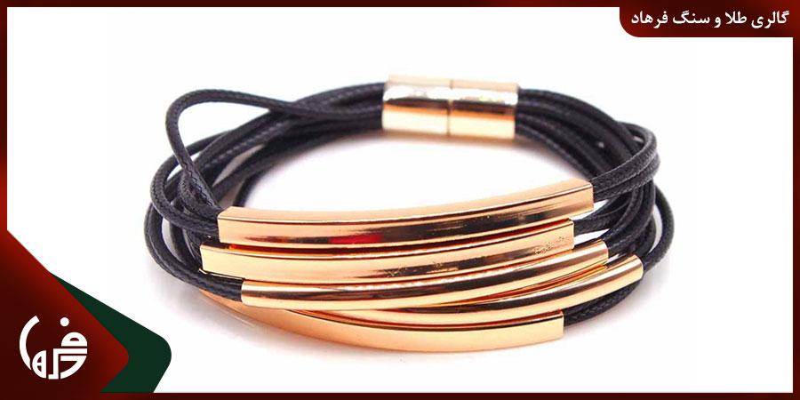 دستبندهای طلا و چرم