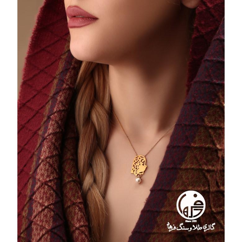 گردنبند طلا طرح پرنده اسلیمی و مروارید