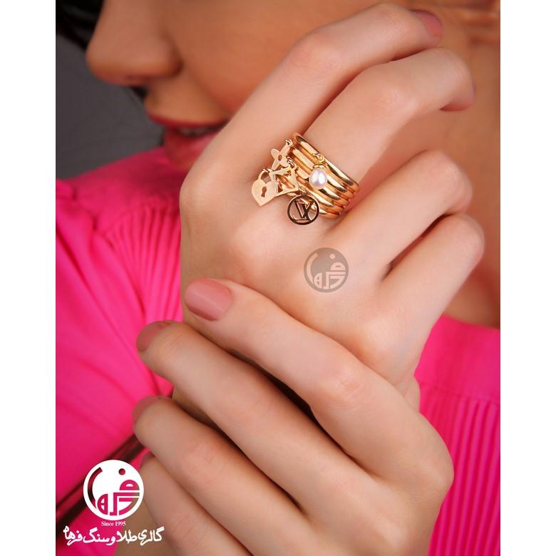 انگشتر طلا طرح ال وی کد R687