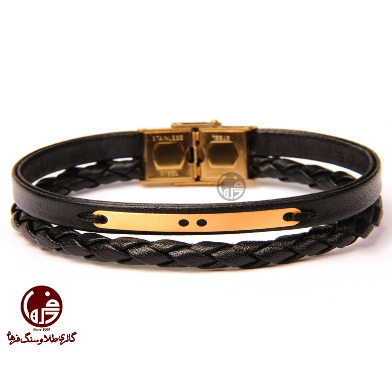 دستبند مردانه طلا و چرم خط و نقطه