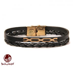 دستبند مردانه طلا و چرم طرح ضربدری