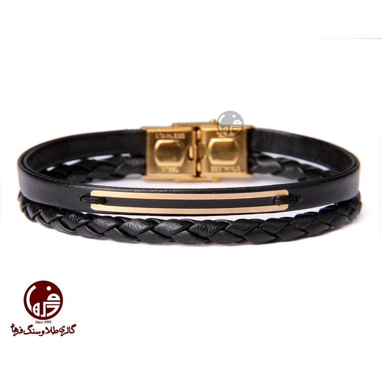 دستبند مردانه طلا و چرم طرح دو خط