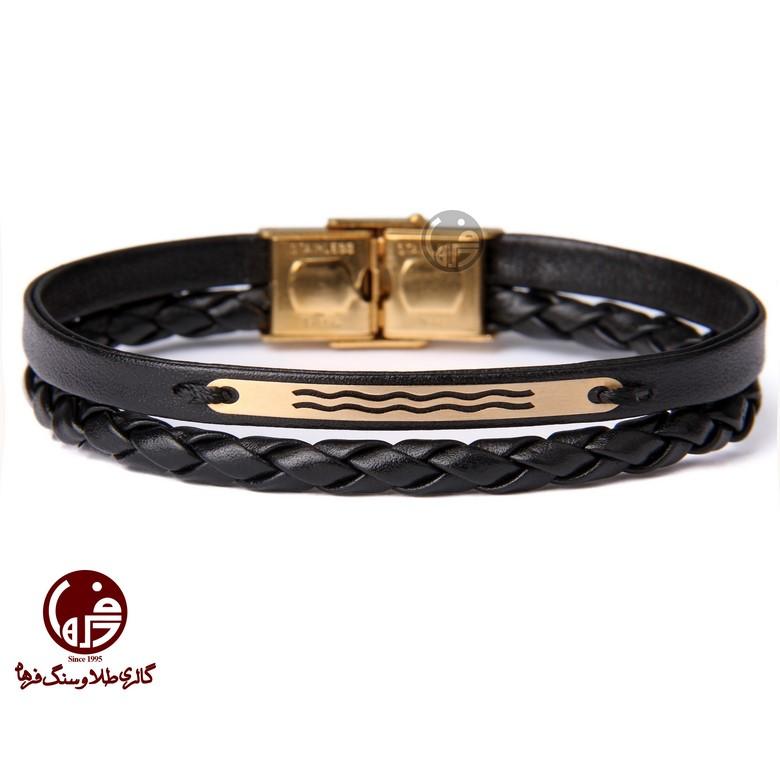 دستبند مردانه طلا و چرم طرح موج