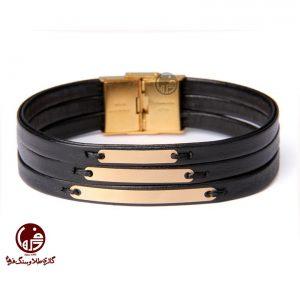 دستبند مردانه طلا و چرم طرح سه خط