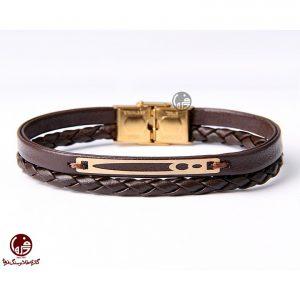 دستبند مردانه طلا و چرم طرح اشکال هندسی