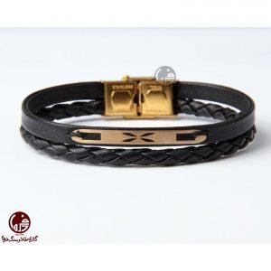 دستبند مردانه طلا و چرم طرح ضربدر