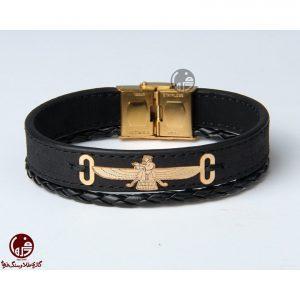 دستبند مردانه طلا و چرم طرح فروهر