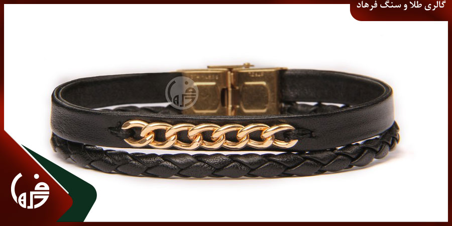 دستبند طلا و چرم مردانه