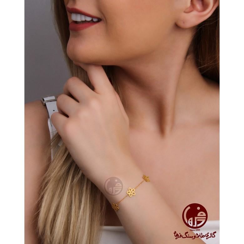 دستبند طلا طرح گل کد B704