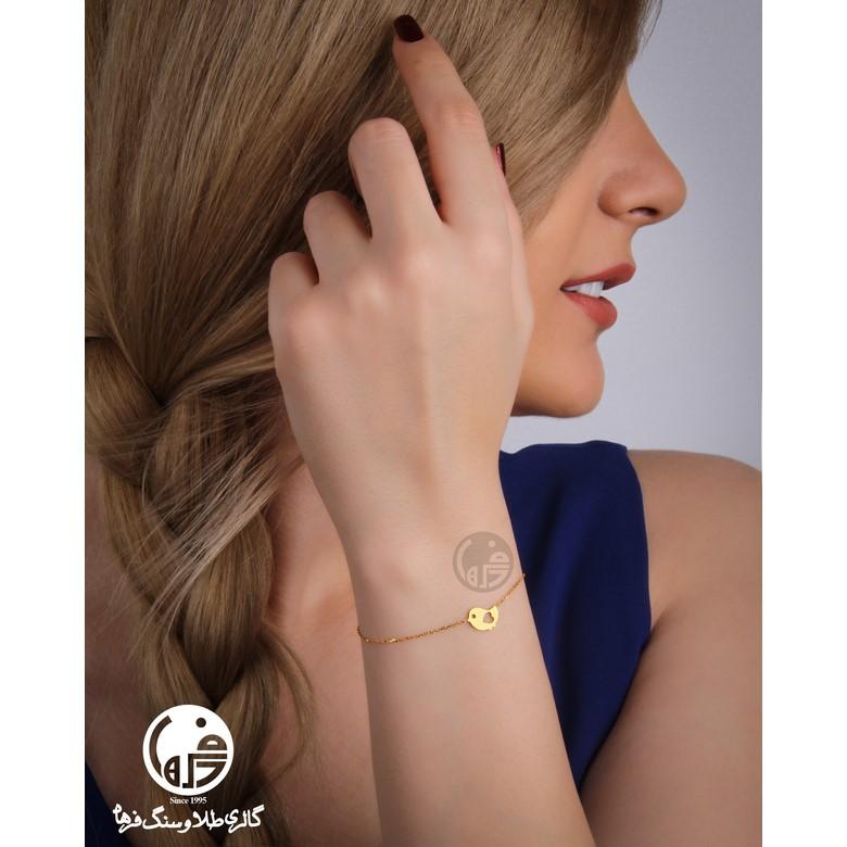 دستبند طلا طرح پرنده و قلب کد B719