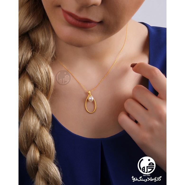 گردنبند طلا 18 عیار زنانه طرح اشک و مروارید کد N715