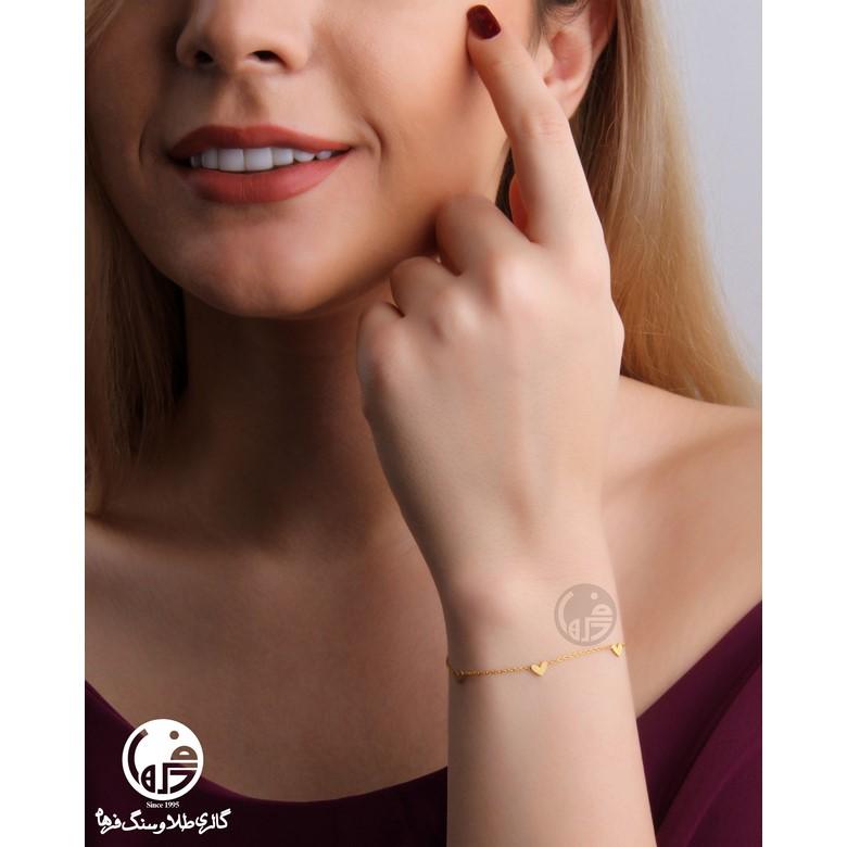 دستبند طلا طرح قلب قلب کد B711