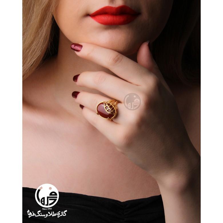 انگشتر طلا و سنگ عقیق طرح برگ کد R714