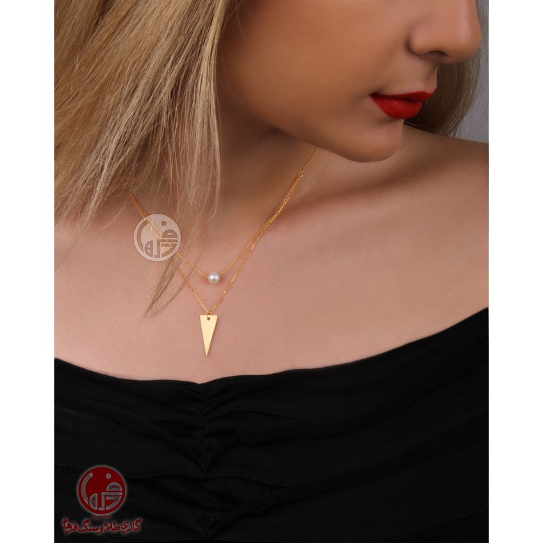 گردنبند طلا 18 عیار زنانه طرح مثلث و مروارید کد N713