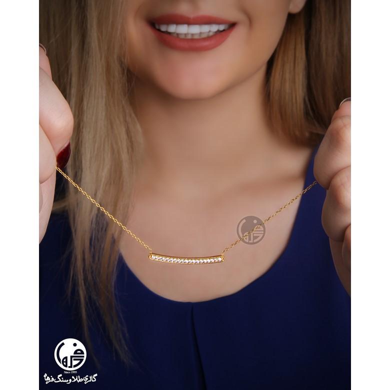 گردنبند طلا 18 عیار زنانه طرح خطی کد N717